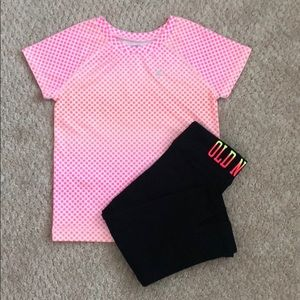 Old Navy Fit Pink Top with Black Leggings